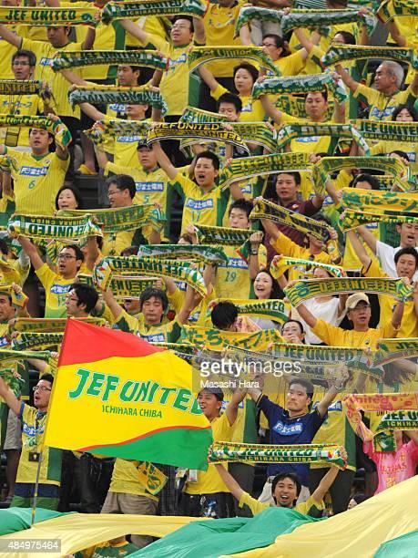 JEF United Chiba supporters hold mufflers prior to the JLeague second division match between Yokohama FC and JEF United Chiba at Nippatsu Mitsuzawa...