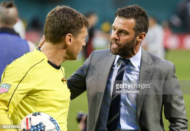 C United coach Ben Olsen argues with referee David Gantar after DC United's final MLS match at RFK Stadium between DC United and the New York Red...