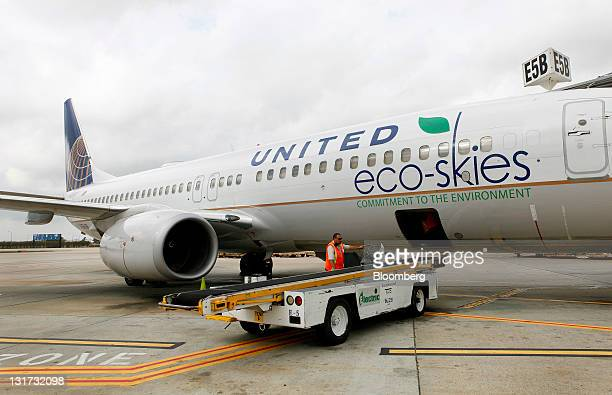 United Continental Holdings Inc employees load bags onto a Boeing 737800 bearing the Eco Skies livery at George Bush Intercontinental Airport in...