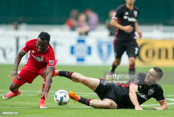 United defender Chris Korb and Chicago Fire forward David Accam clash during a MLS match between DC United and the Chicago Fire on May 20 at RFK...