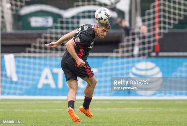United defender Chris Korb heads back from his goal during a MLS match between DC United and the Chicago Fire on May 20 at RFK Stadium in Washington...