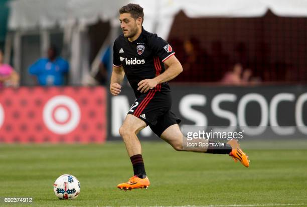 United defender Chris Korb races forward during a MLS match between DC United and the Los Angles Galaxy on June 3 at RFK Stadium in Washington DC The...