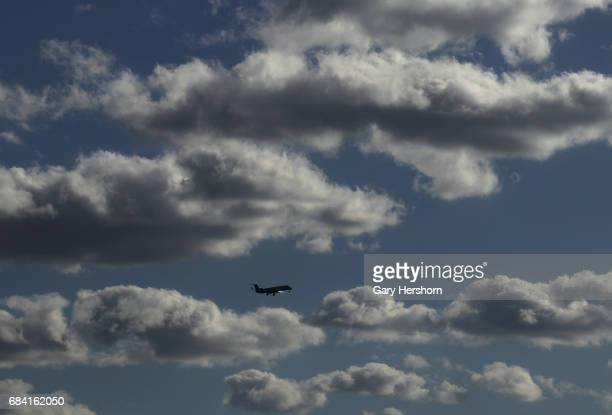 United Express airplane passes through clouds on approach to Newark Liberty Airport on May 15 as seen from Elizabeth New Jersey