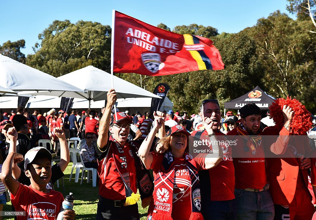 United fans show their support during the A-League Grand Final Fan Day at Bonython Park on April 30, 2016 in Adelaide, Australia.