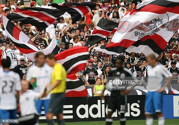 C United fans wave their banners during a stop in the play during an MLS game against the San Jose Earthquakes at RFK Stadium on June 22 2008 in...