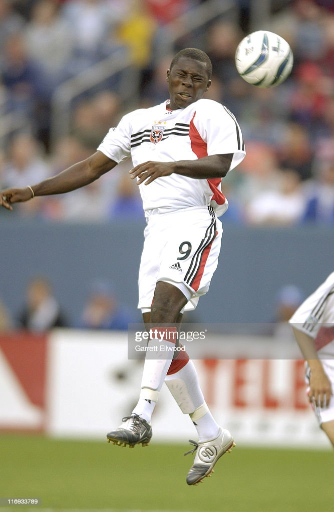 DC United Forward Freddy Adu goes up for a header during DC United versus the Colorado Rapids on May 22 2004 at Invesco Field at Mile High in Denver...