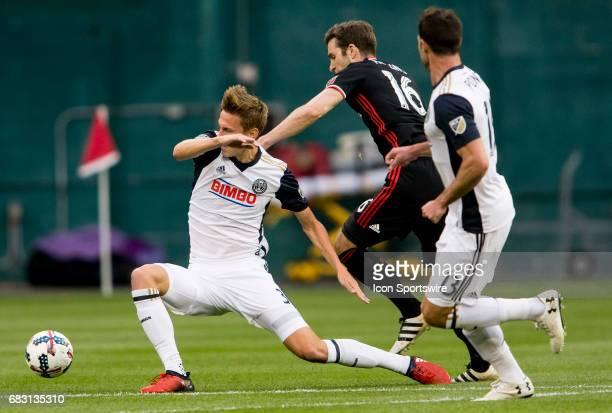 C United forward Patrick Mullins pushes past Philadelphia Union defender Jack Elliott during a MLS match between DC United and the Philadelphia Union...