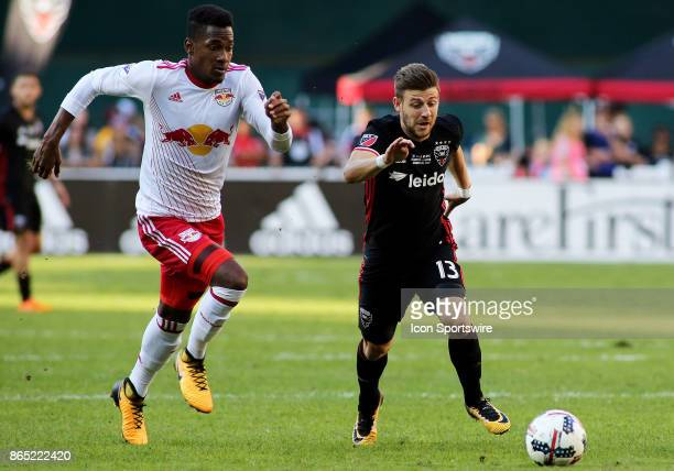 C United forward Paul Arriola runs by New York Red Bulls defender Michael Murillo during a match between DC United and the New York Red Bulls on...