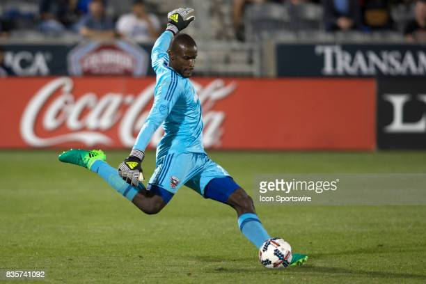 C United goalie Bill Hamid kicks the ball during the Colorado Rapids game vs the DC United on August 19 2017 at Dick's Sporting Goods Park in Denver...