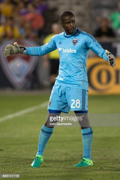 C United goalie Bill Hamid reacts after making a save during the Colorado Rapids game vs the DC United on August 19 2017 at Dick's Sporting Goods...