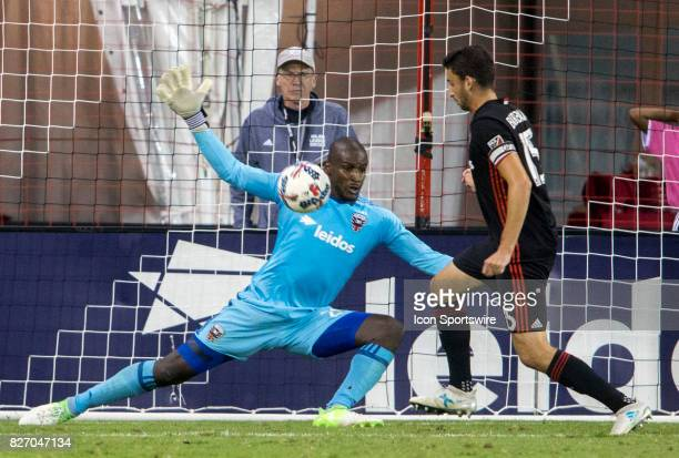 C United goalkeeper Bill Hamid and defender Steve Birnbaum defend during a MLS match between DC United and Toronto FC on August 05 at RFK Stadium in...
