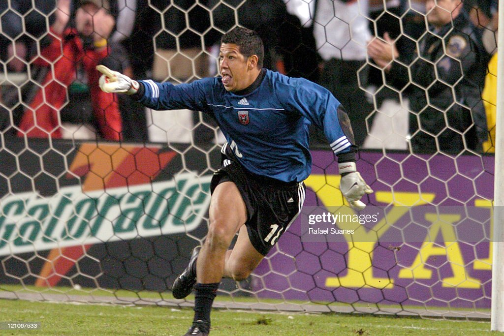 DC United goalkeeper celebrates making the game winning save at RFK Stadium in Washington DC Saturday November 6 2004 Regulation ended 33 DC defeated...