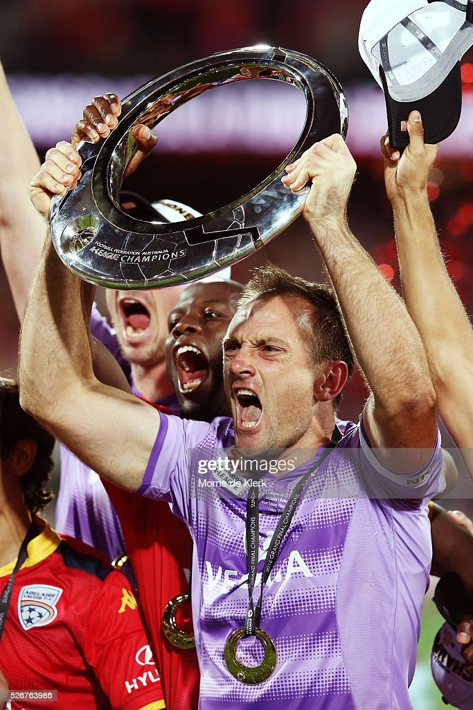 United goalkeeper Eugene Galekovic celebrates with the trophy after the 2015/16 A-League Grand Final match between Adelaide United and the Western Sydney Wanderers at the Adelaide Oval on May 1, 2016 in Adelaide, Australia.