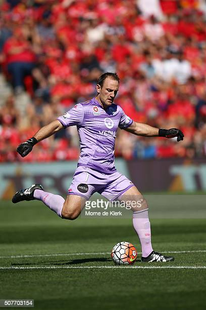 United goalkeeper Eugene Galekovic clears the ball during the round 17 ALeague match between Adelaide United and the Newcastle Jets at Coopers...