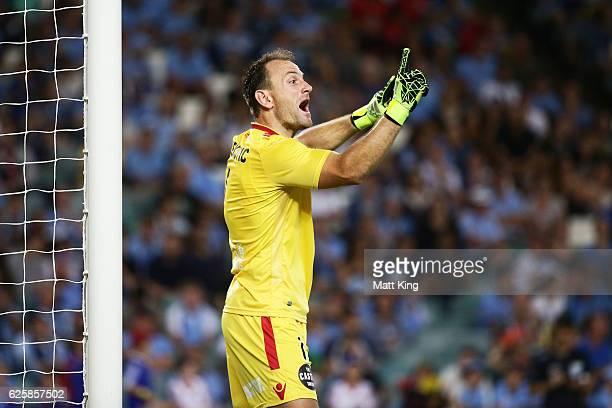 United goalkeeper Eugene Galekovic gives instructions to team mates during the round eight ALeague match between Sydney FC and Adelaide United at...