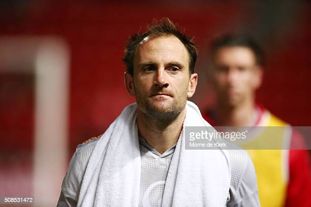United goalkeeper Eugene Galekovic looks on after the round 18 ALeague match between Adelaide United and Sydney FC at Coopers Stadium on February 5...