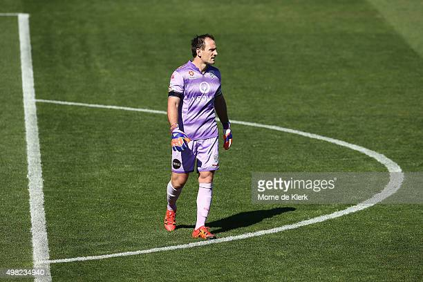 United goalkeeper Eugene Galekovic looks on during the round seven ALeague match between Adelaide United and the Newcastle Jets at Coopers Stadium on...