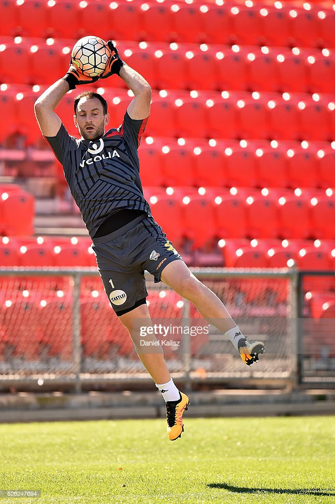 United goalkeeper Eugene Galekovic makes a save during an Adelaide United A-League training session at Coopers Stadium on April 30, 2016 in Adelaide, Australia.