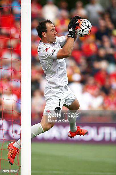 United goalkeeper Eugene Galekovic makes a save during the round 12 ALeague match between Adelaide United and the Wellington Phoenix at Coopers...