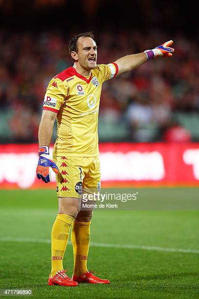 United goalkeeper Eugene Galekovic reacts during the ALeague Elimination Final match between Adelaide United and Brisbane Roar at Adelaide Oval on...
