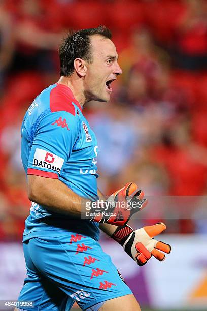 United goalkeeper Eugene Galekovic reacts during the round 18 ALeague match between Adelaide United and Western Sydney Wanderers at Coopers Stadium...