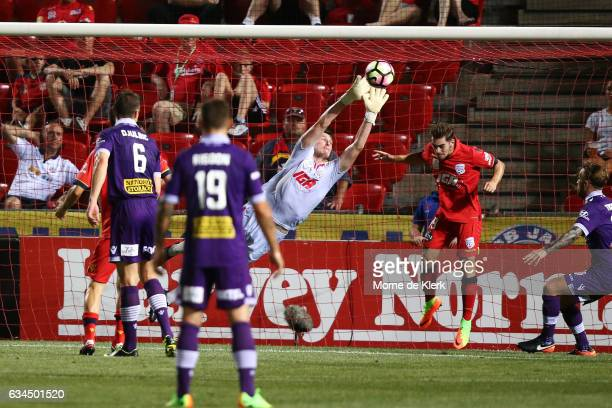 United goalkeeper John Hall makes a save during the round 19 ALeague match between Adelaide United and Perth Glory at Coopers Stadium on February 10...