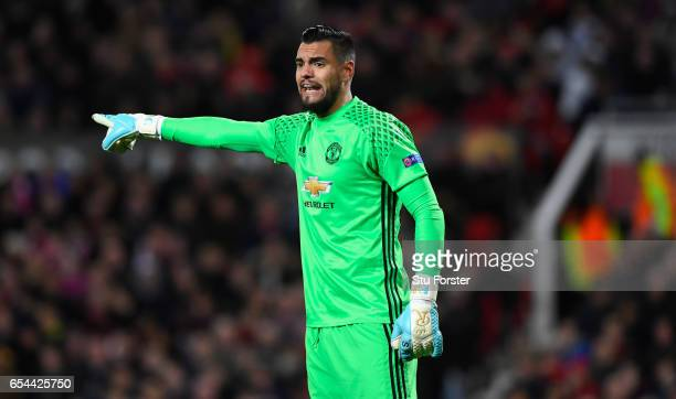 United goalkepeer Sergio Romero in action during the UEFA Europa League Round of 16 second leg match between Manchester United and FK Rostov at Old...