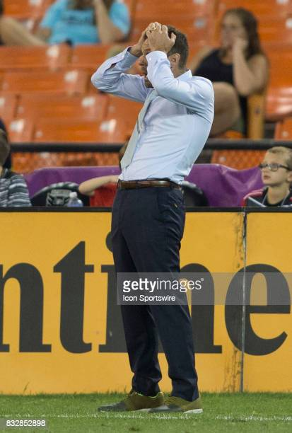 United head coach Ben Olsen reacts to a play during a MLS match between DC United and Real Salt Lake on August 13 at RFK Stadium in Washington DC...