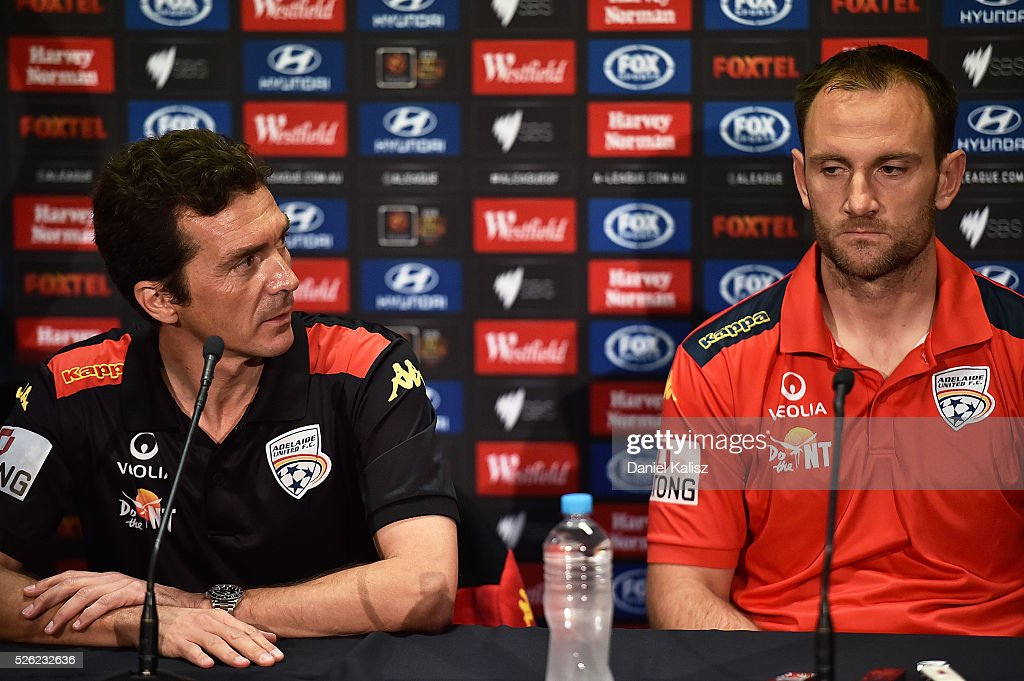 United head coach Guillermo Amor and Adelaide United captain Eugene Galekovic speak to the media during the A-League Grand Final press conference at Coopers Stadium on April 30, 2016 in Adelaide, Australia.