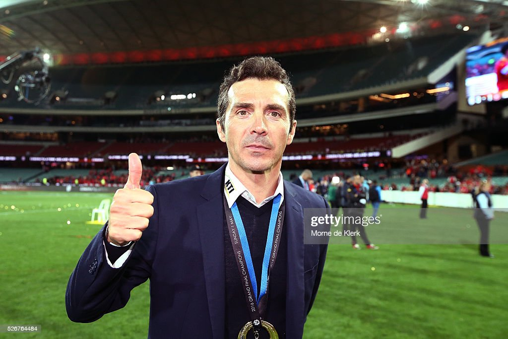 United head coach Guillermo Amor looks on after winning the 2015/16 A-League Grand Final match between Adelaide United and the Western Sydney Wanderers at the Adelaide Oval on May 1, 2016 in Adelaide, Australia.