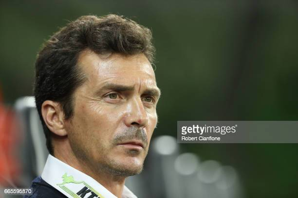United Head Coach Guillermo Amor looks on prior to the round 26 ALeague match between Melbourne City FC and Adelaide United at AAMI Park on April 7...