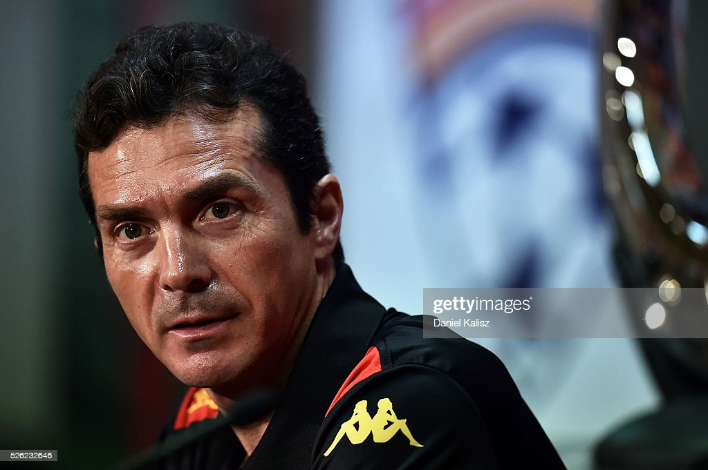 United head coach Guillermo Amor speaks to the media during the A-League Grand Final press conference at Coopers Stadium on April 30, 2016 in Adelaide, Australia.