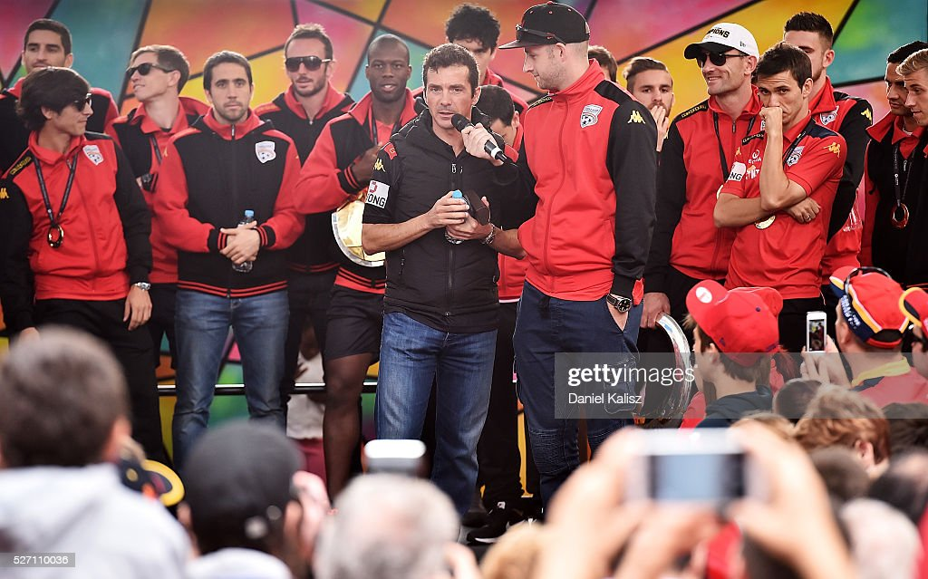 United head coach Guillermo Amor talks to the crowd during the Adelaide United A-League Grand Final at Rundle Mall on May 2, 2016 in Adelaide, Australia.