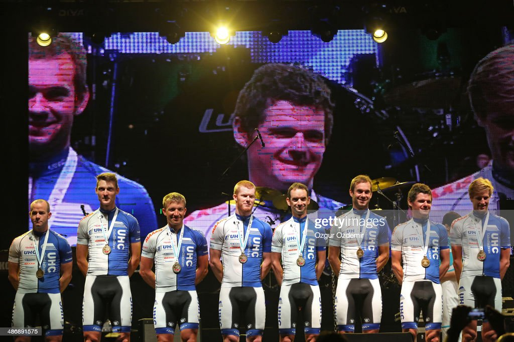 United Healthcare Pro Cycling Team attends the opening ceremony of the 50th Presidential Cycling Tour at Alanya in the Mediterranean resort city of Antalya on April 26, 2014 in Antalya, Turkey. The Presidential Cycling Tour of Turkey will be held between April 27 and May 4.