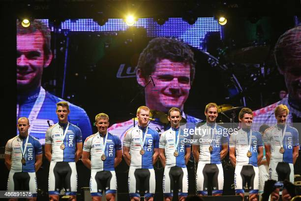 United Healthcare Pro Cycling Team attends the opening ceremony of the 50th Presidential Cycling Tour at Alanya in the Mediterranean resort city of...