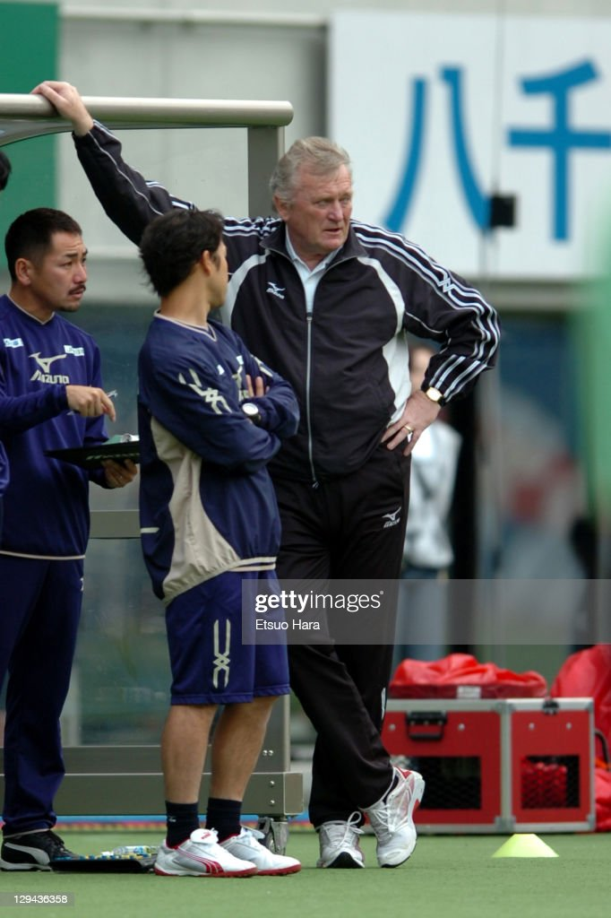JEF United Ichihara head coach <a gi-track='captionPersonalityLinkClicked' href=/galleries/search?phrase=Ivica+Osim&family=editorial&specificpeople=776551 ng-click='$event.stopPropagation()'>Ivica Osim</a> looks on during the J.League Yamazaki Nabisco Cup Group C match between FC Tokyo and JEF United Chiba at Ajinomoto Stadium on May 21, 2005 in Tokyo, Japan.