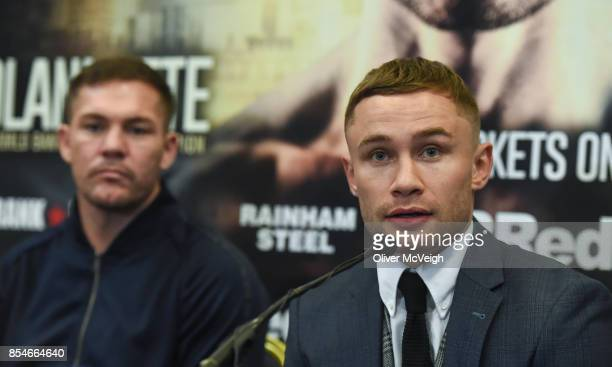 United Kingdom 27 September 2017 Carl Frampton right and trainer Jamie Moore during a press conference to announce the Frampton Reborn Boxing...