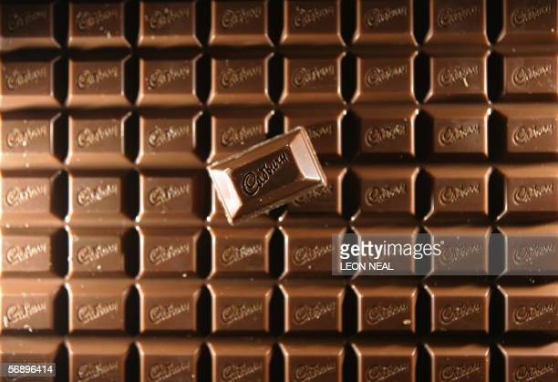 A bar of Cadbury's chocolate is pictured in London 21 February 2006 The British confectionery and soft drinks giant Cadbury Schweppes reported on...