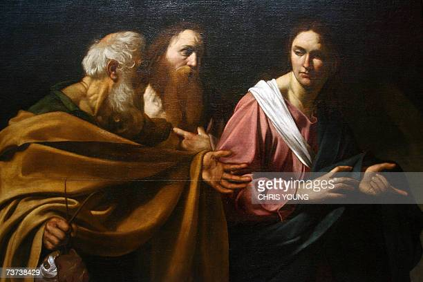 A detail of Caravaggio's 'The Calling of Saints Peter and Andrew' is seen at The Queen's Gallery of Buckingham Palace in London 29 March 2007 'The...