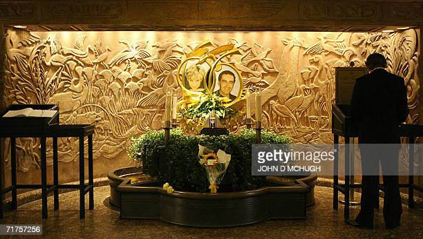 A memorial to Diana Princess of Wales and Dodi alFayed is pictured in the Harrods Store in London 31 August 2006 on the ninth anniversary of their...