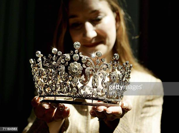 A Poltimore Tiara worn by Britain's late Princess Margaret on her wedding day is exhibited at Christies auction house in London 09 June 2006 The...