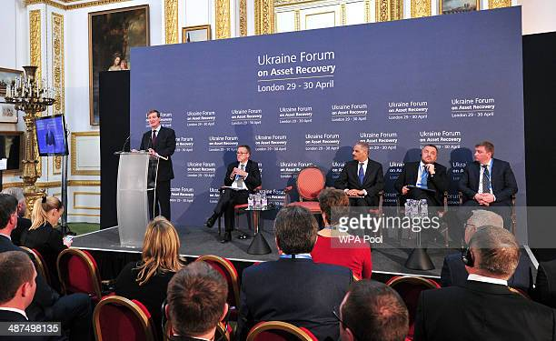 United Kingdom Attorney General Dominic Grieve gives his closing statement at the end of the Ukrainian Forum on Asset Recovery on April 30 2014 in...