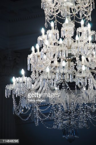 United Kingdom, Bristol, close up of crystal chandelier