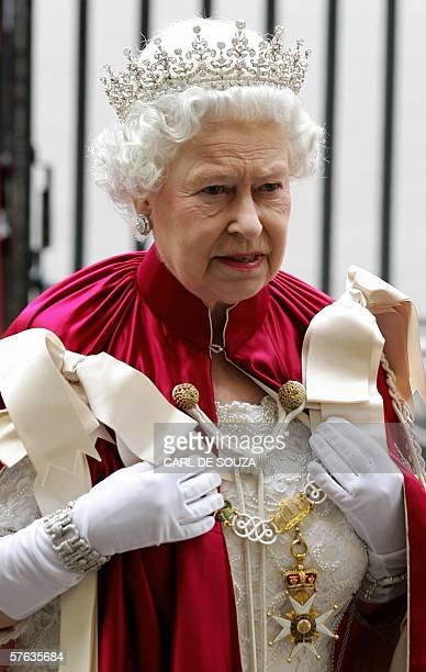 Britain's Queen Elizabeth II arrives at Westminster Abbey in London 17 May 2006 to attend the Order of the Bath Service The Order of the Bath is...