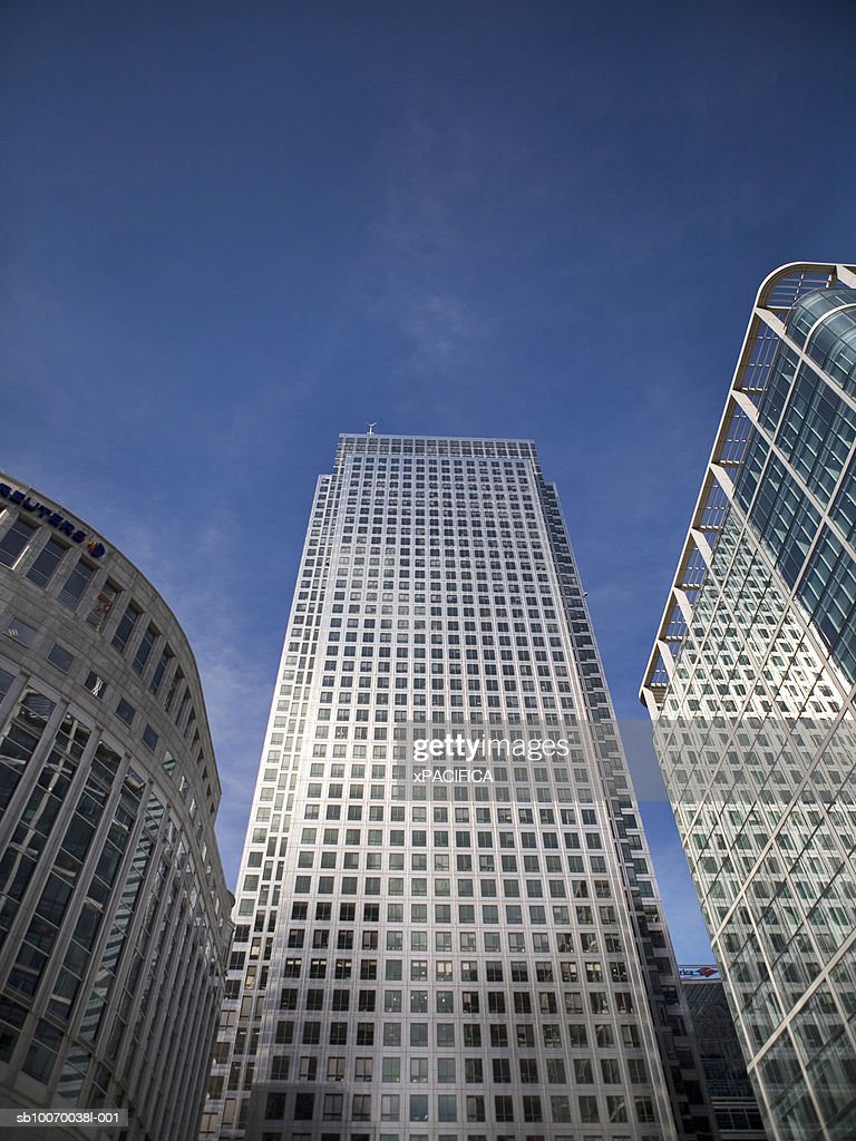United Kingdom, Canary Wharf Tower, low angle view