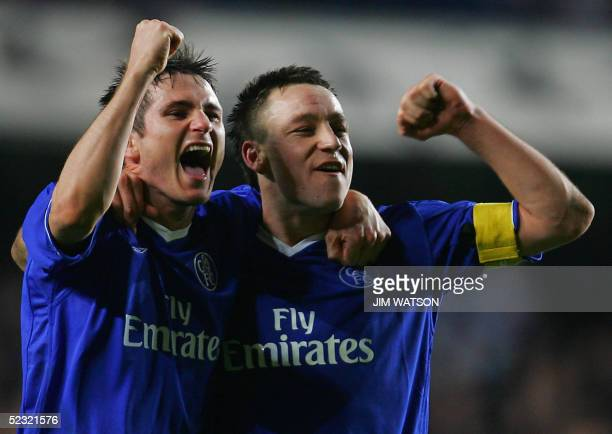 Chelsea's Frank Lampard and John Terry celebrate their win after the second leg of their Champion's League football match at Stamford Bridge stadium...