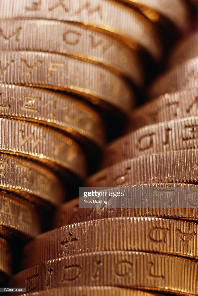 United Kingdom currency: stack of one pound coins, detail : Stock Photo