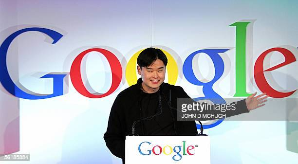 Dennis Hwang Webmaster at Google and exclusive designer of the Google doodles seen on their home page speaks at the opening of the GooglePlex their...