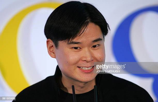 Dennis Hwang Webmaster at Google and exclusive designer of the Google doodles seen on their home page speaks at the opening of the GooglePlex at the...
