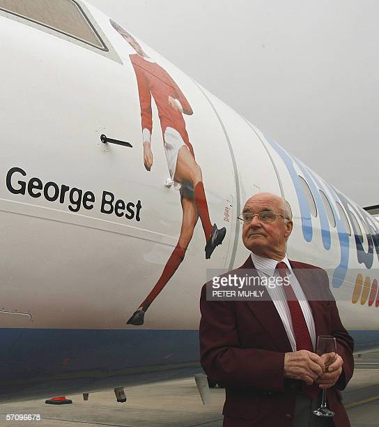 Dickie Best father of the late footballing legend George Best admires a picture of his son that has been installed onto the front of a specially...